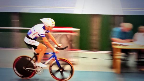 Mike Cotgreave setting Hour record (picture courtesy Andy Cotgreave)