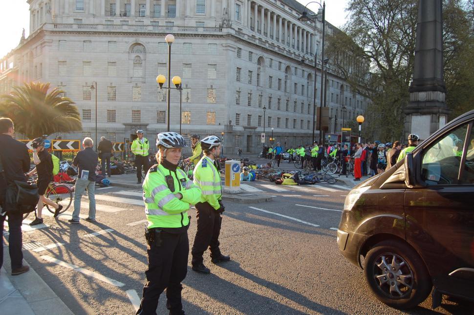 Millbank Die-in bike police