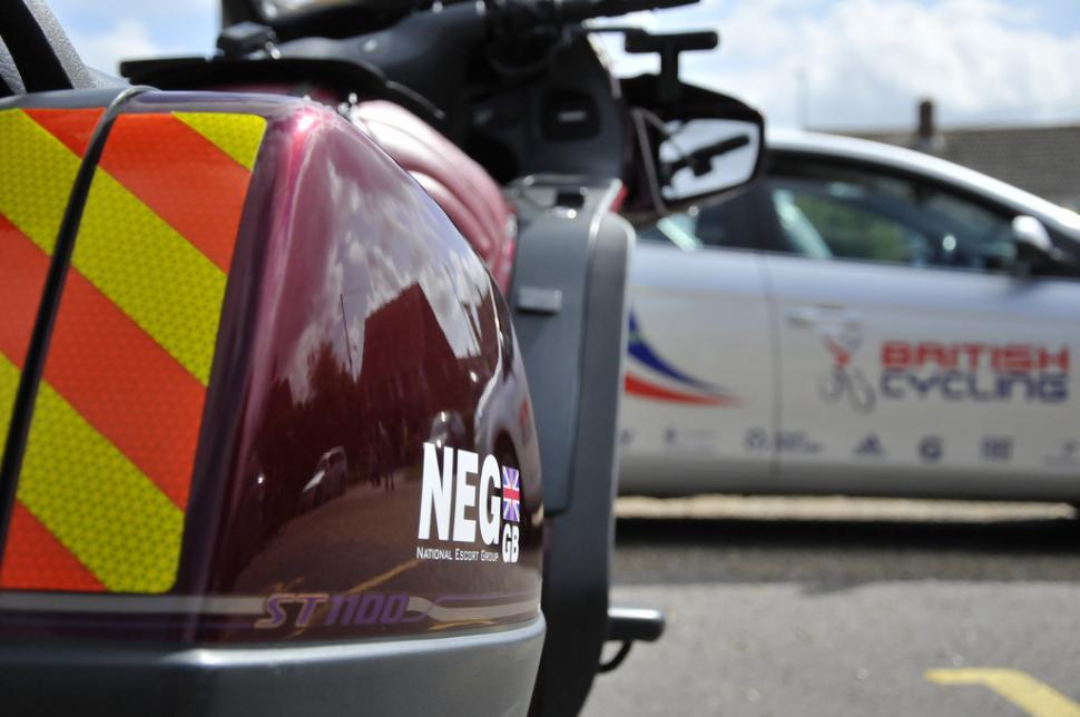 National Escort Group motorcycle (copyright Britishcycling.org.uk)