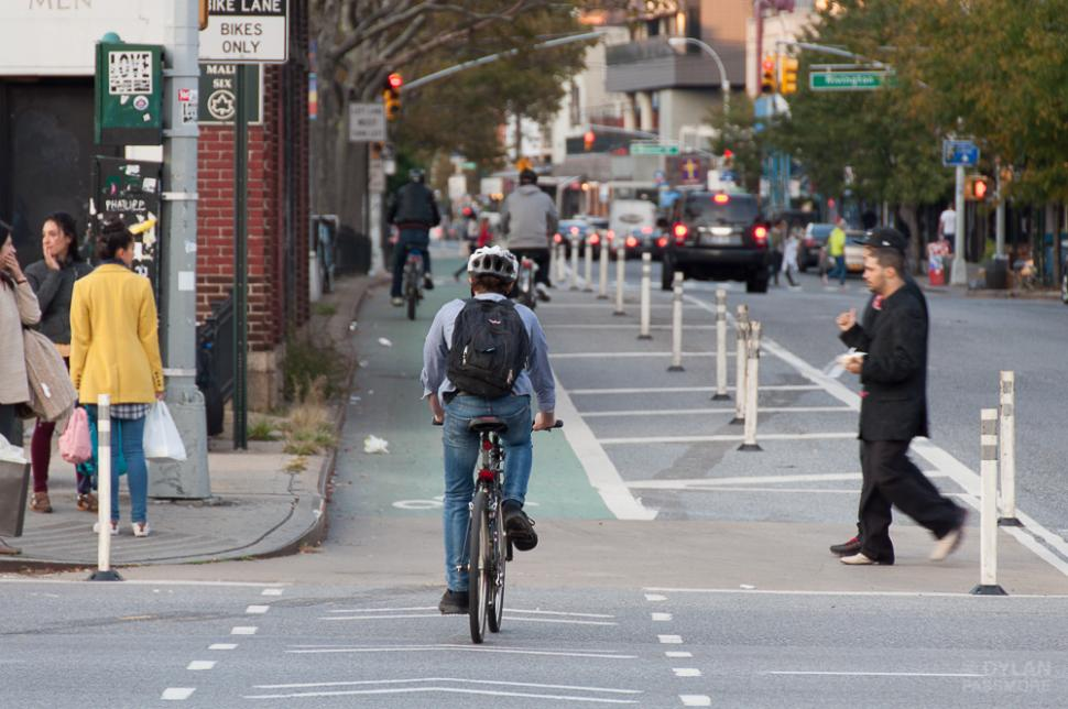 New York City segregated cycle lane (CC licensed on Flickr by Dylan Passmore)