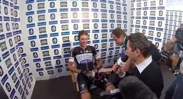 Niki Terpstra after winning Paris-Roubaix 2014 (OPQS YouTube still)
