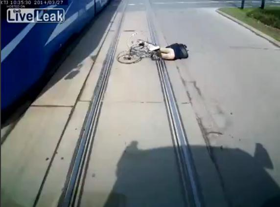 Polish cyclist attempts tram takeover.png