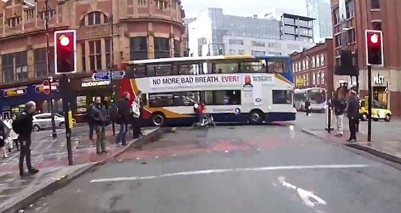 RLJ cyclist hits bus YouTube still