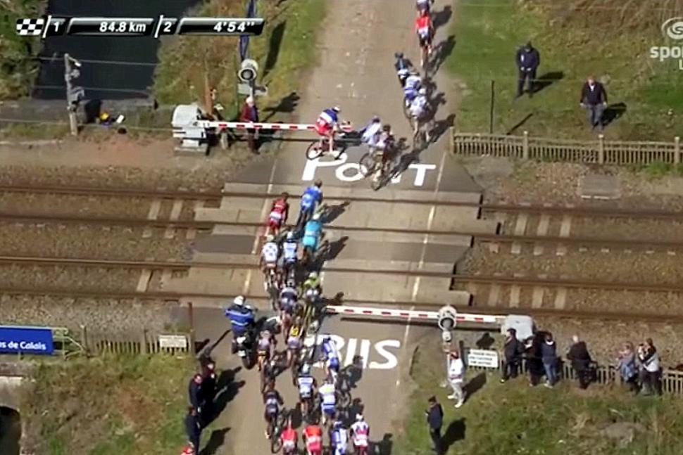 Riders ignore barriers at Paris-Roubaix