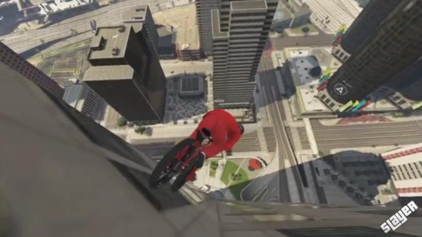 Riding down a skyscraper in Grand Theft Auto V
