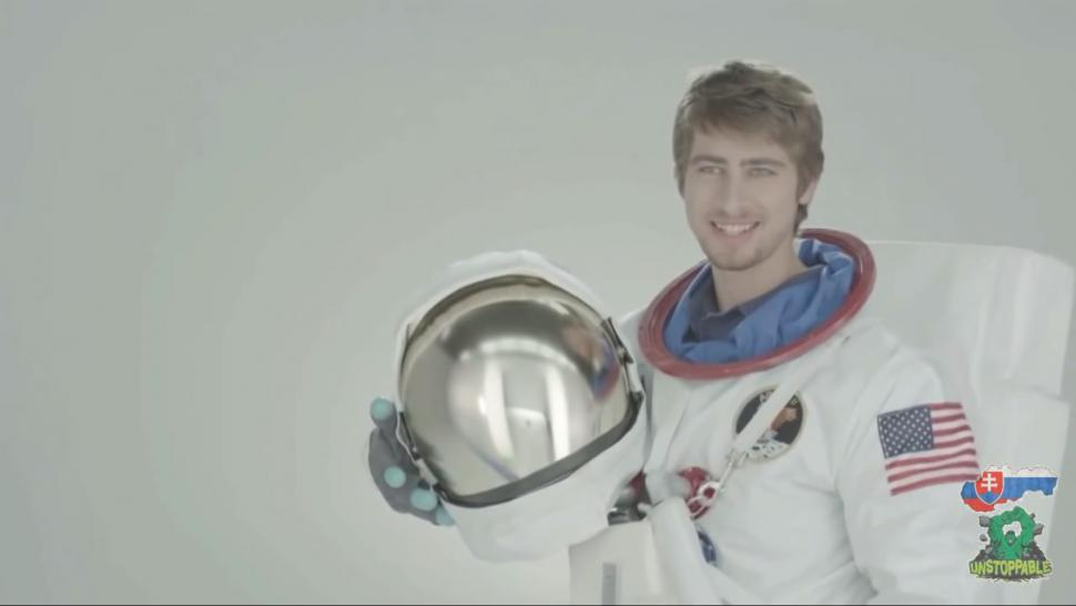 Astronaut Sagan - don't ask us (image via Peter SagFan's YouTube account)