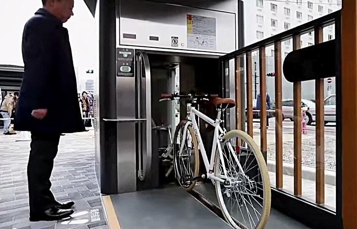 Still taken from Tokyo bike parking YouTube video
