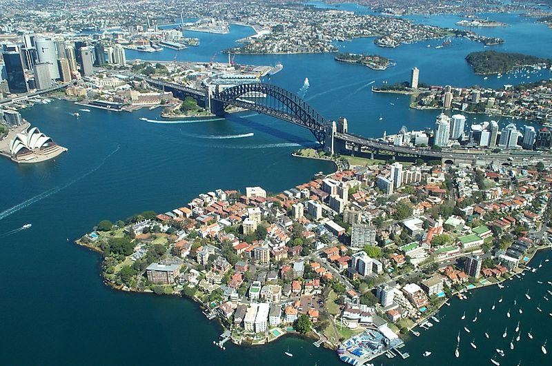 Sydney Harbour from the air (copyright Rodney Haywood)