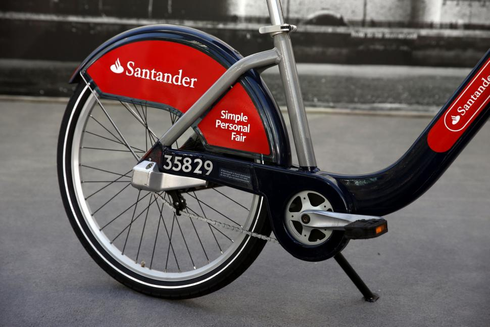 The new red Boris bike livery (©Steve Bardens:Getty Images for Santander)