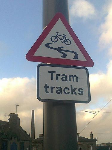 Tram tracks sign Edinburgh © Chris Hill