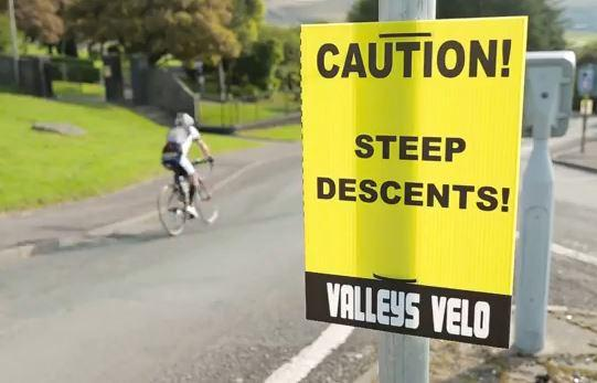 Valleys Velo steep descents sign YouTube still