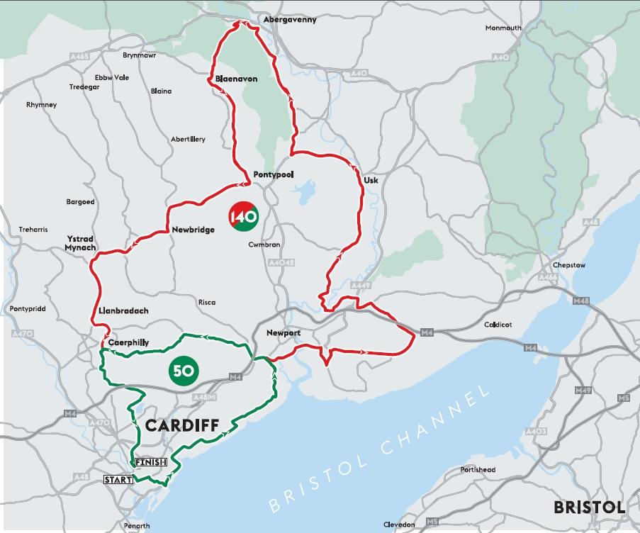 Velothon Wales 2015 route
