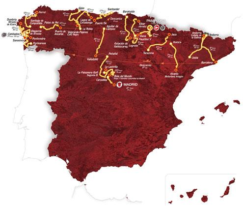 Vuelta 2012 route map