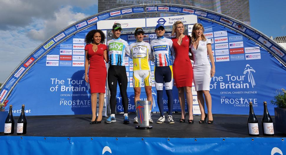The Tour of Britain podium (picture credit- The Tour of Britain)