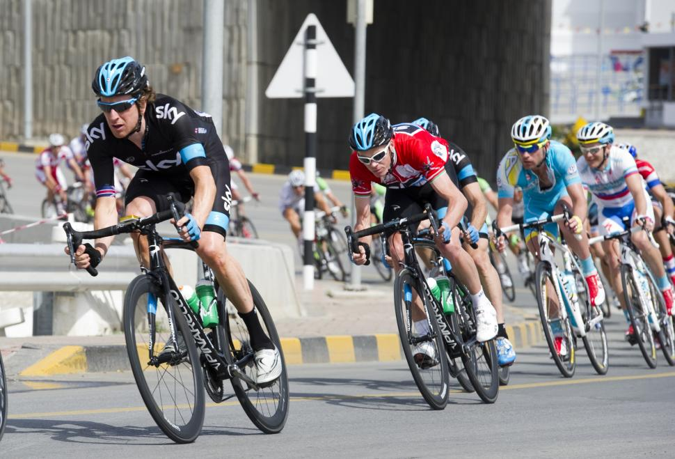 2013 Tour of Oman Stage 5 Wiggins looking after Froome (© Lloyd Images:Muscat Muncipality)
