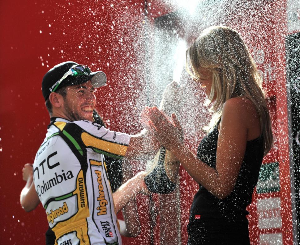 Mark Cavendish celebrates on the Vuelta podium after winning Stage 13 (copyright Unipublic:Graham Watson)