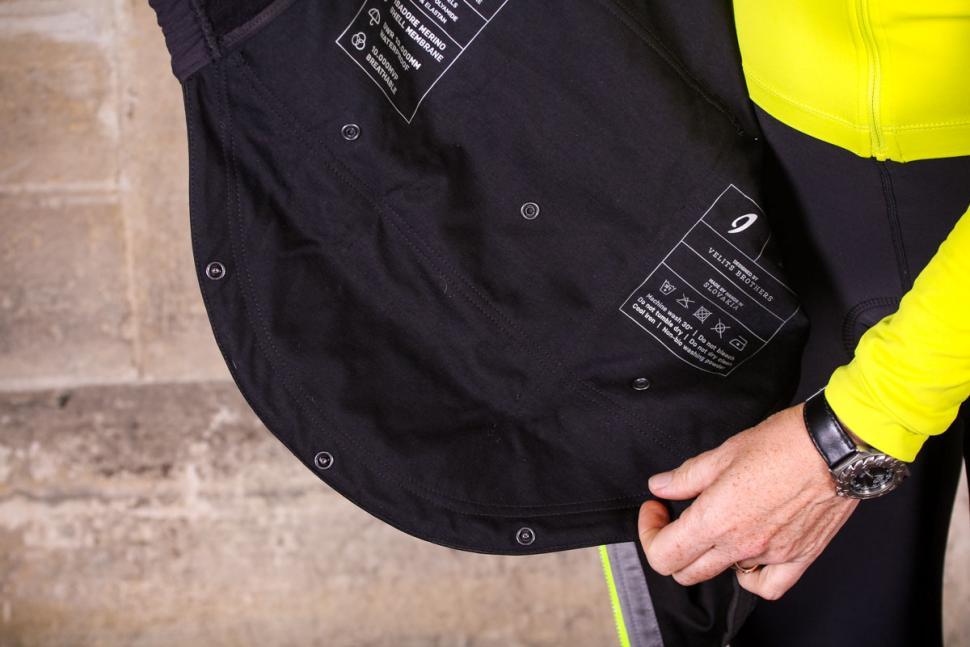 Isadore Womens Merino Membrane Soft Shell Vest - inside and rain flap.jpg