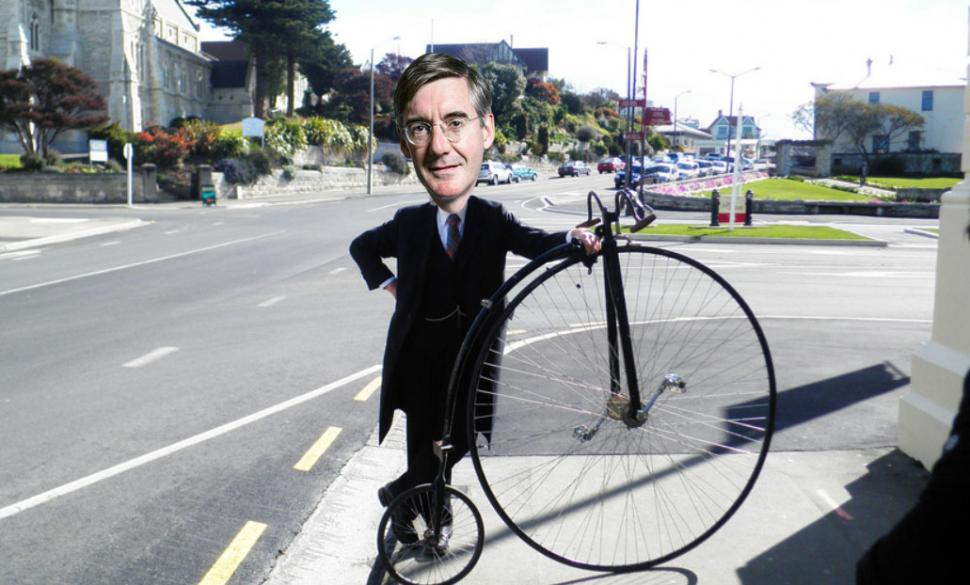 Jacob Rees-Mogg and Penny farthing (original photo licensed CC BY-SA 2.0 on Flickr by Bob Walker).jpg
