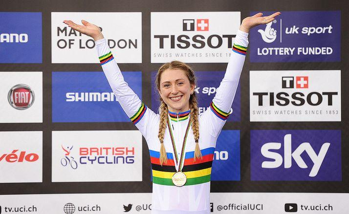 Laura Trott in rainbow jersey at London UCI Track World Championships 2016, copyright SWPix.com, Britishcycling.org_.uk_.JPG