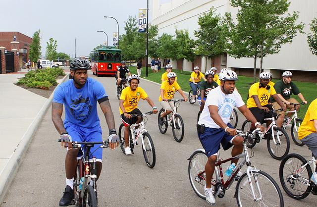 LeBron James (left) on Wheels for Education ride (via State Farm on Flickr)