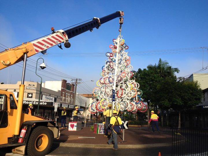 lismore christmas tree made of bikes via facebook - Christmas Condoms