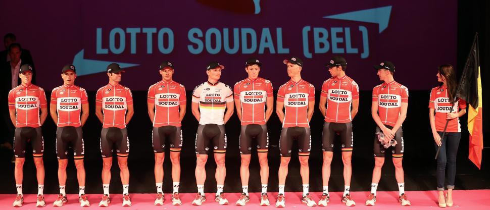 Lotto Soudal at 2015 Giro d'Italia presentation (photo credit ANSA, Daniel Dal Zennaro-Claudio Peri).jpg
