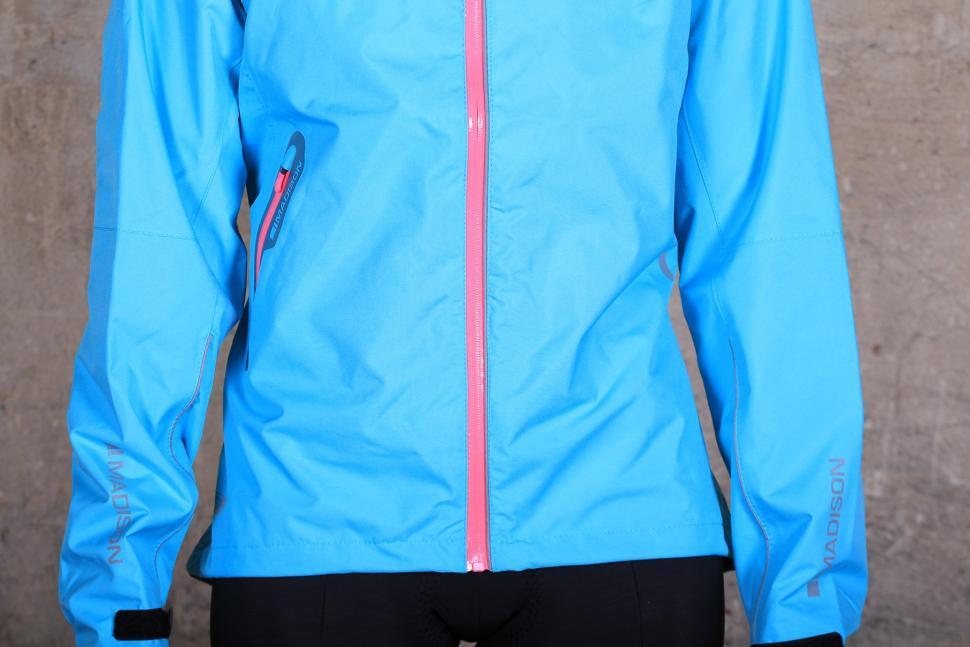 Madison Prima Womens waterproof jacket - hem and zip.jpg