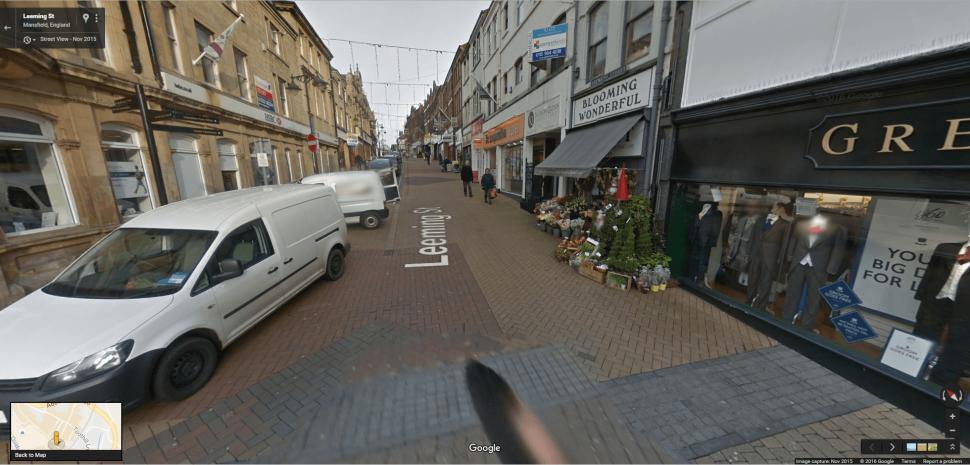 Four wheels good, two wheels bad: Mansfield's Leeming St, where cycling will be banned (Google Streetview)