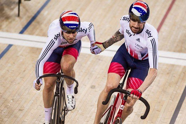 Mark Cavendish and Sir Bradley Wiggins in the Madison, Track Worlds 2016 (copyright Britishcycling.org_.uk).jpg