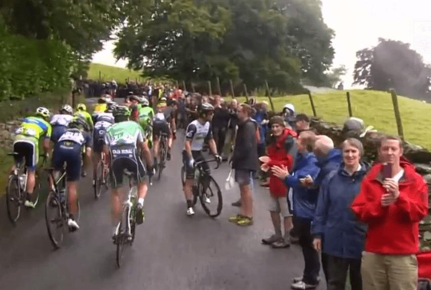 Mark Cavendish stops on Tour of Britain climb video still.PNG