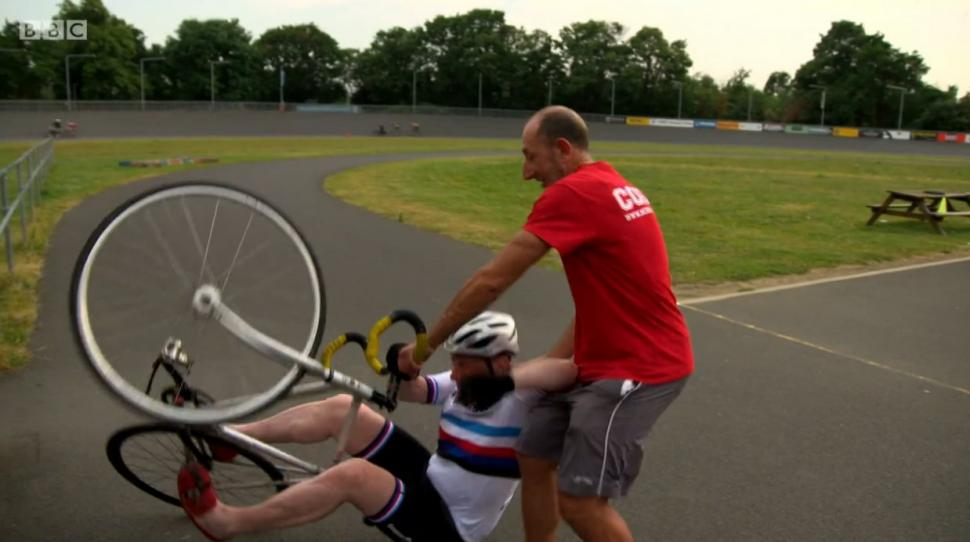 Michael Portillo takes a tumble at Herne Hill Velodrome (+