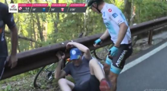 f12c348c4b7 Giro d'Italia Videos: Miguel Angel Lopez slaps fan who knocked him from bike,  Primoz Roglic penalised for push, Bauke Mollema swears after mechanical