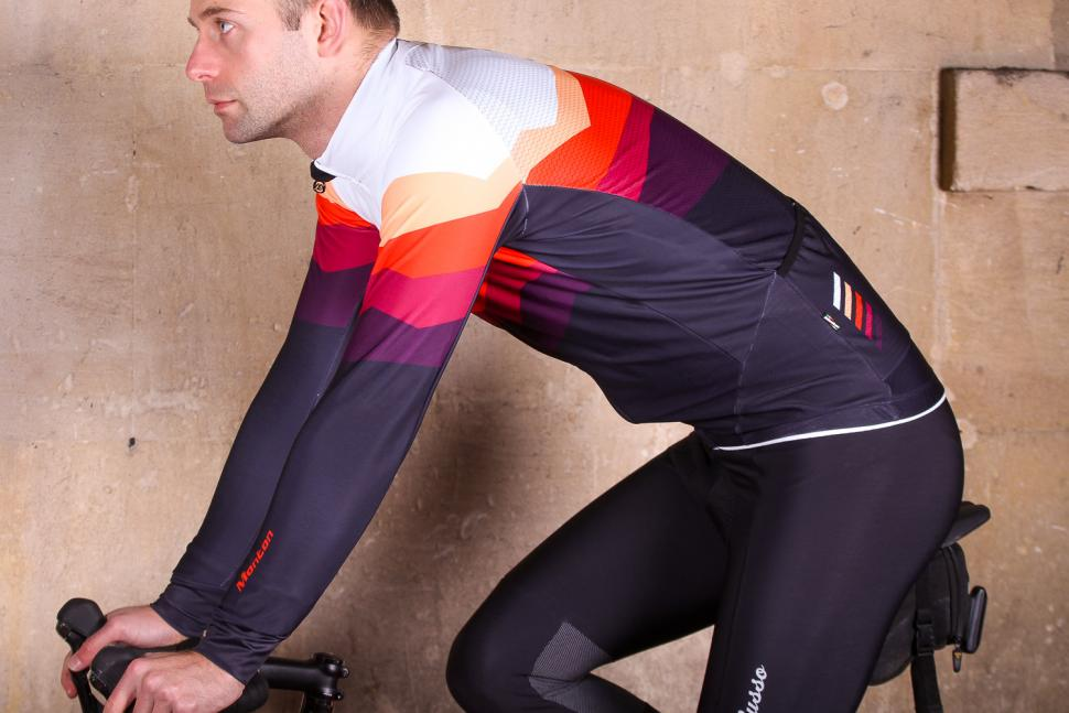 Monton Revo Rock Orange Thermal Jersey - riding.jpg