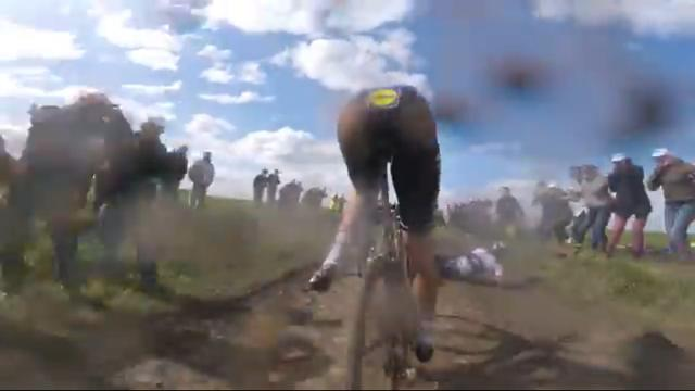 Niki Terpstra and Fabian Cancellara Paris-Roubaix 2016 crash (source Velon).PNG