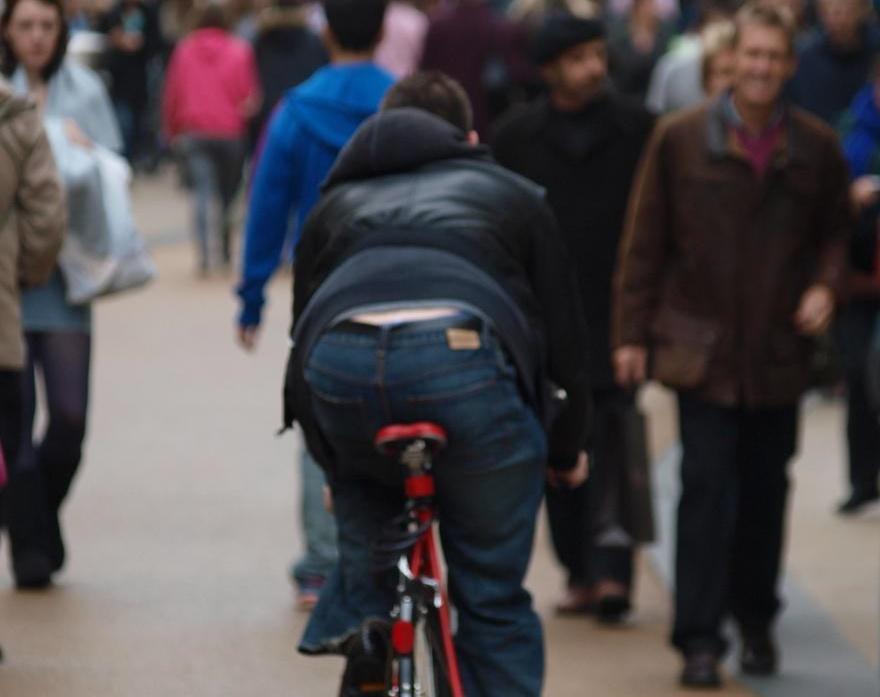 Pedestrian zone cyclist.JPG