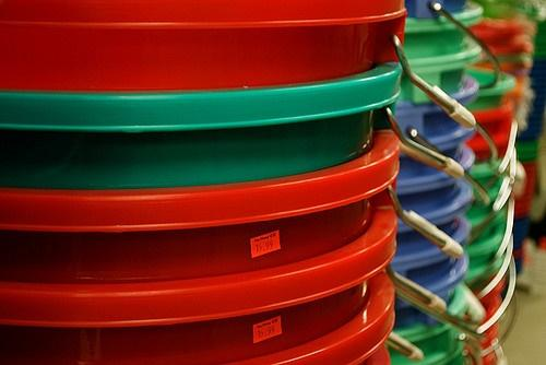 Plastic buckets (CC licensed by Eric L via Flickr).jpg