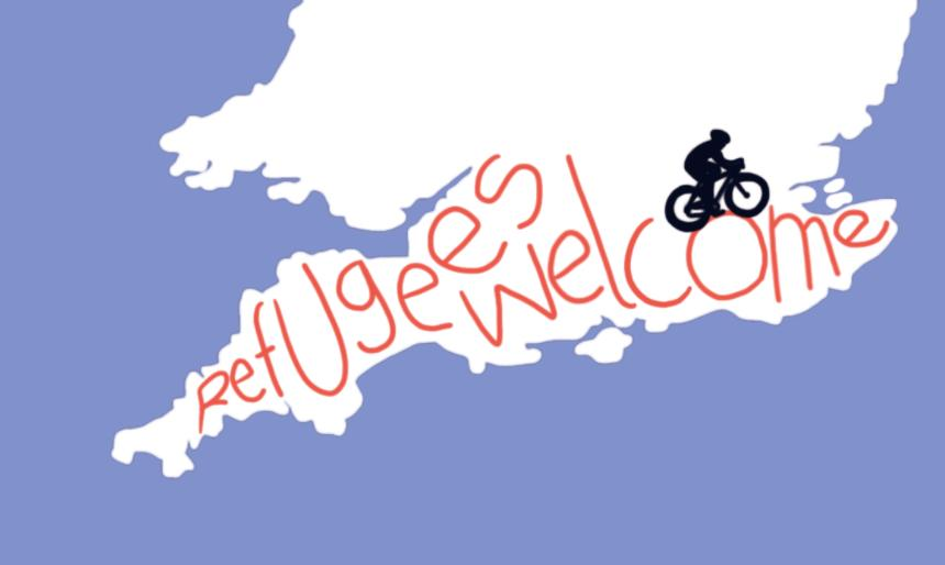 """""""Refugees Welcome"""" – British cyclists complete world's largest GPS artwork"""