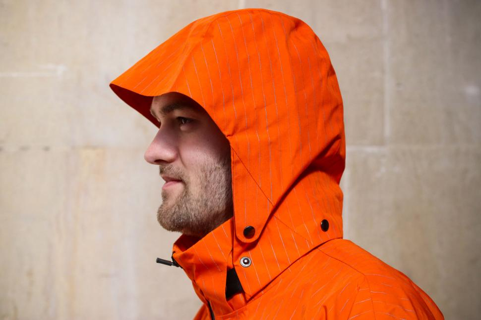 Resolute Bay Orange Reflective Commuter Jacket - hood up.jpg