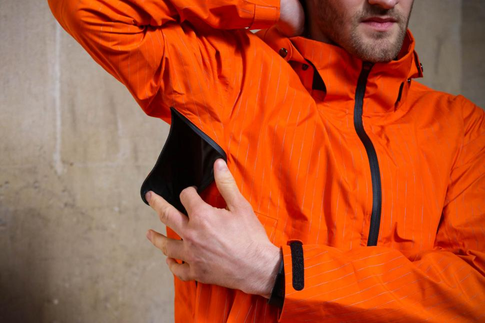 Resolute Bay Orange Reflective Commuter Jacket - vent open.jpg