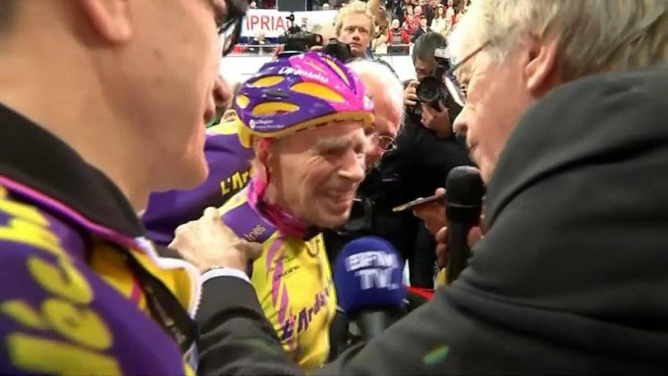 Robert Marchand after setting 105+ age group Hour Record (source BFM TV via Twitter).jpg