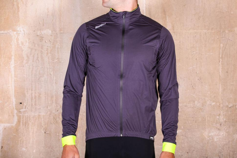 Guard 3.0 Rainproof CYCLING JACKET Made it Italy by Santini in Grey//Yellow
