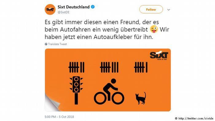 Sixt bumper sticker post on Twitter