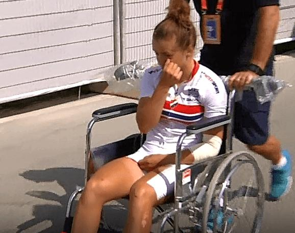 Susanne Andersen after being knocked from her bike (TV2 still).PNG