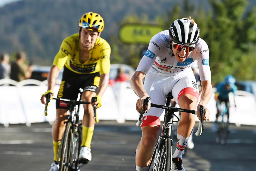 Tour De France Stage 15 Tadej Pogacar Wins Primoz Roglic Second On The Grand Colombier Road Cc