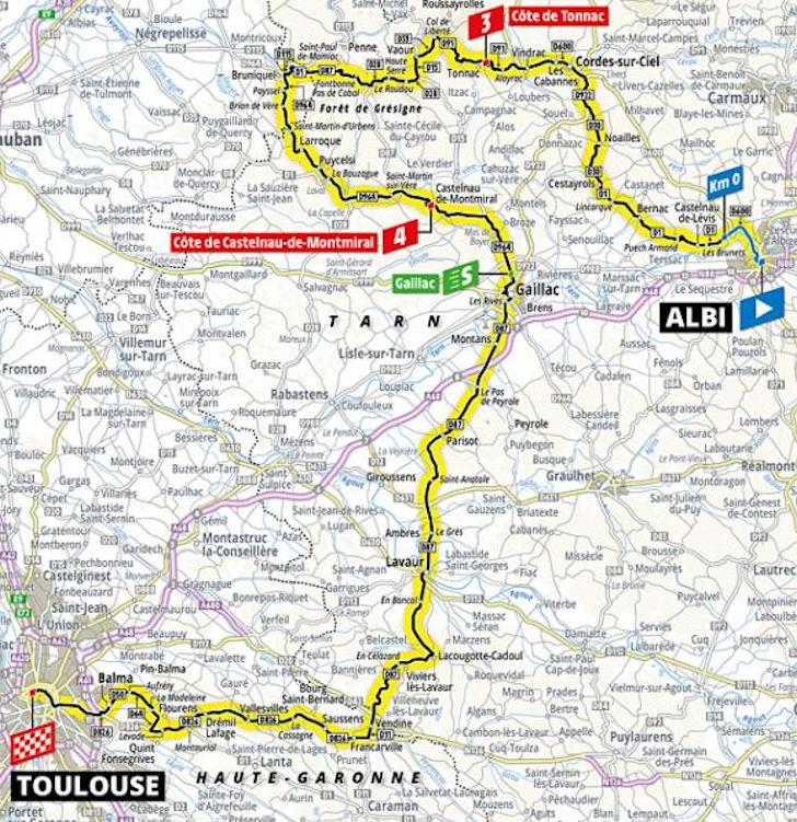 TdF 2019 Stage 11 map