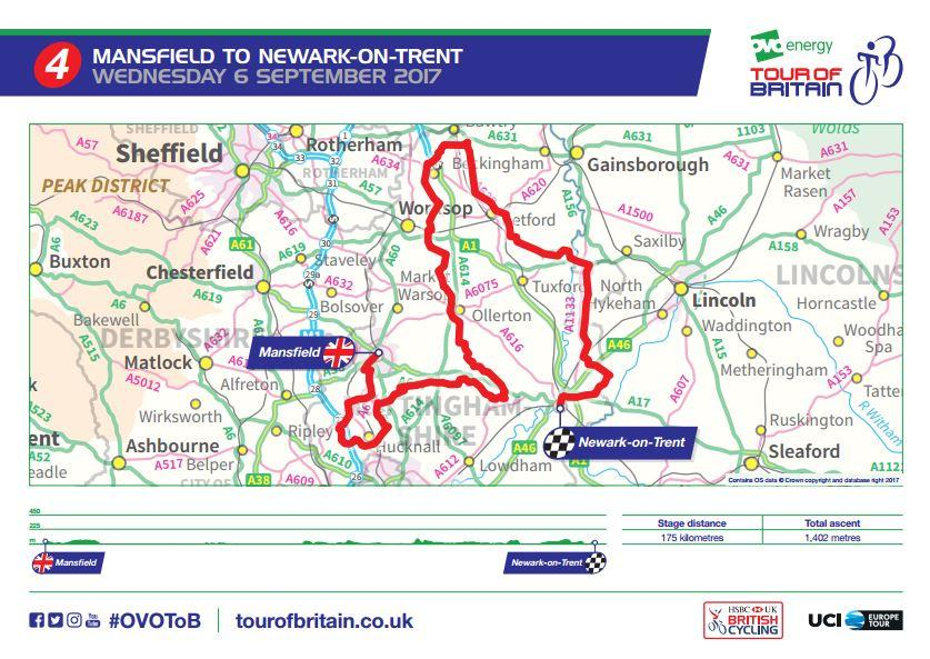 Tour of Britain 2017 Stage 4 route map.JPG