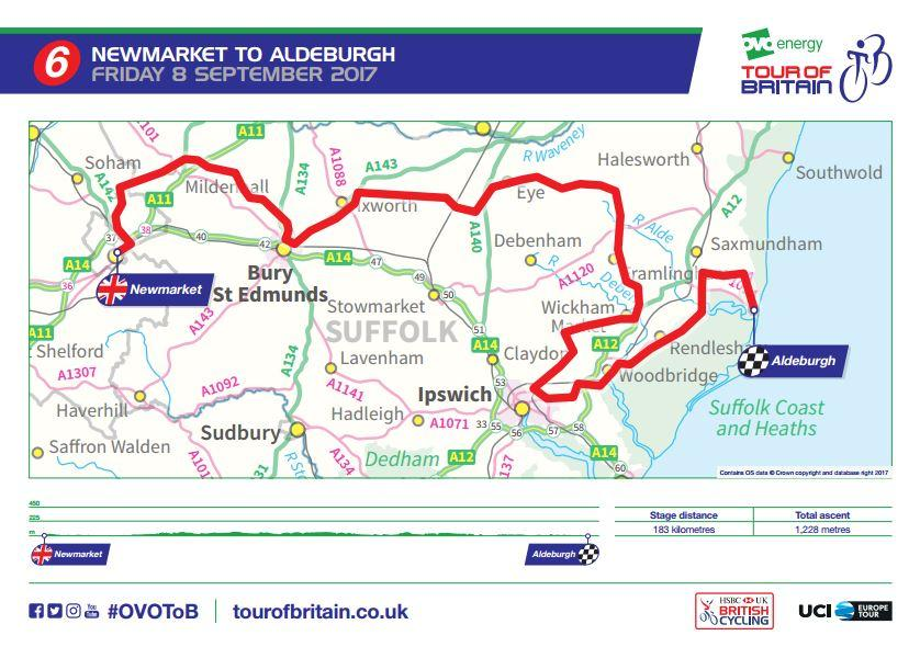 Tour of Britain 2017 Stage 6 route map.JPG