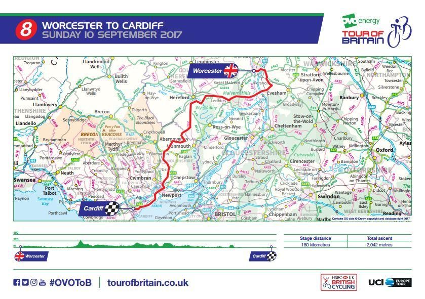 Tour of Britain 2017 Stage 8 route map.JPG
