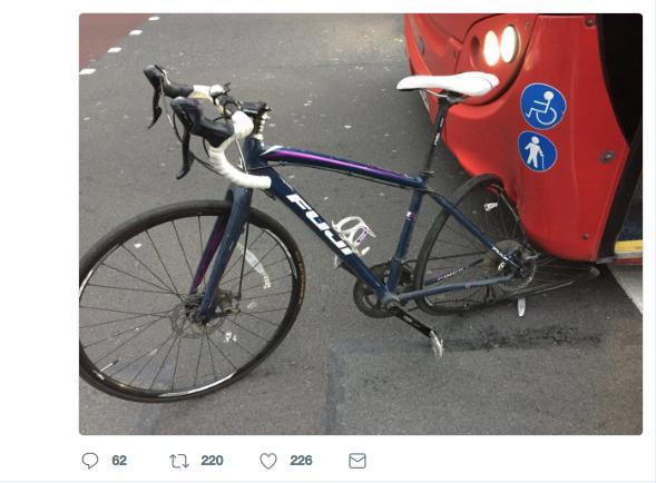 Bike crushed by bus