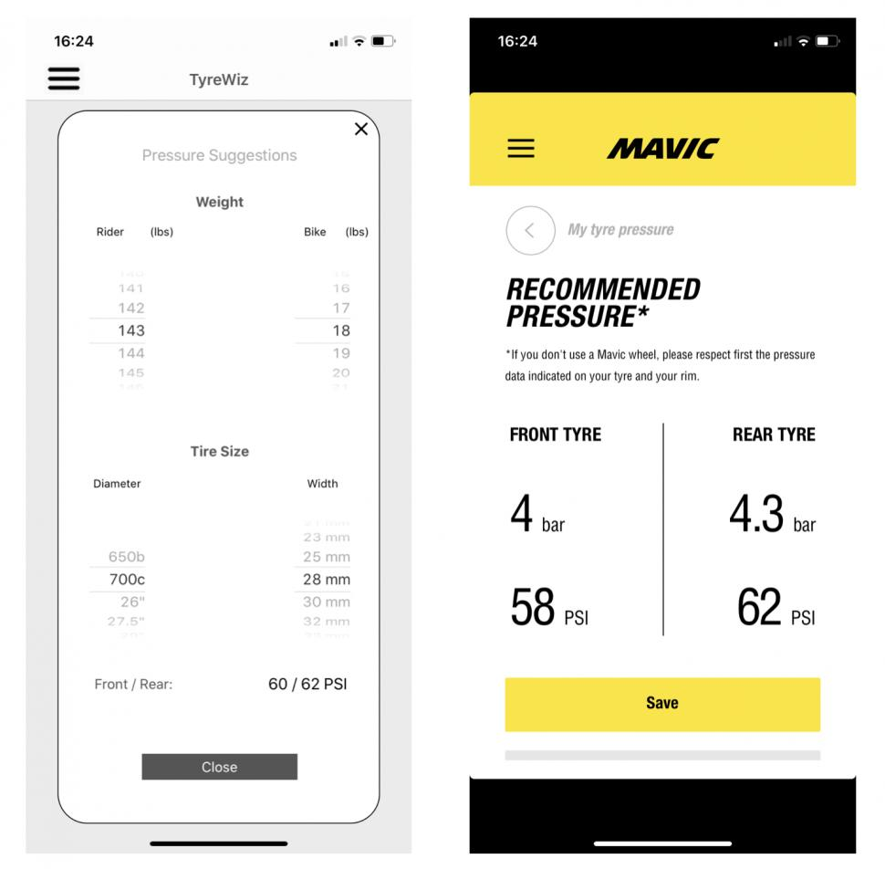 tyre pressure app recommendation